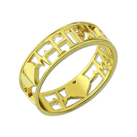Wholesale Heartbeat Ring Gold Color Personalized Name Ring Engagement Wedding Band Ring Love Heart Ring
