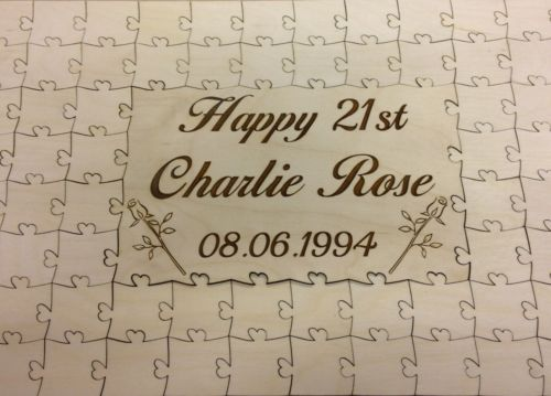 Personalized Name Date Rustic Jigsaw Puzzle Happy Birthday Wedding Guest Books Alternative Wooden Guestbooks DIY Favors In Party Decorations From Home