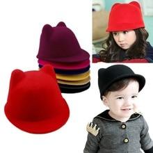 Winter Warm Cat Ear Wool Felt Fedora Hat Girl Boy Kids Children Derby Bowler Cap стоимость