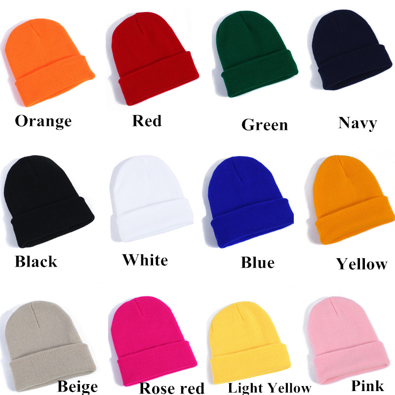 23 Multicolor High Quality Hats Cotton Knitted Beanie Hat Cap For Men Women Winter Warm Cuff Plain Ski Long Beanie Skull Cap