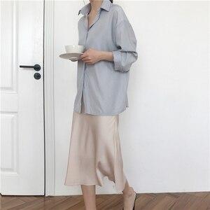 Image 5 - Женская длинная шелковистая юбка, летняя элегантная однотонная трапециевидная юбка миди на молнии с высокой талией