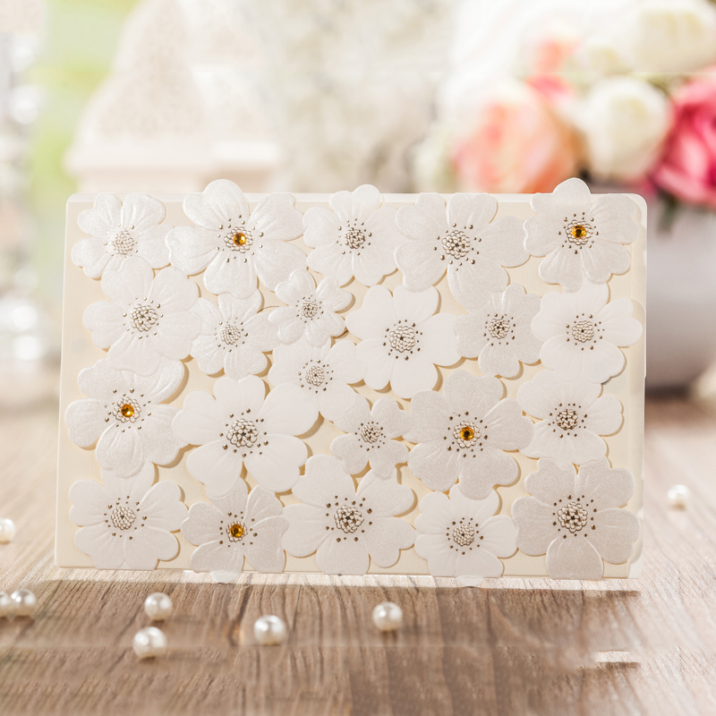Lace Design White Flower Rose Invitation Card Kit For Wedding Paper Blank Printing Invitations Cards Set Party Festivals Invite design laser cut lace flower bird gold wedding invitations kit paper blank convite casamento printing invitation card invite