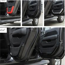 Lapetus Accessories For Jeep Wrangler JL 2 / 4 Door 2018 2019 Inner Handle Armrests Storage Box Container Net Molding Cover