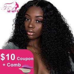 AFAIYS вьющиеся Синтетические волосы на кружеве человеческих волос парики 13x6 длинные глубокий часть бразильский Волосы remy полный курчавые