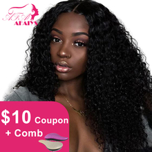 AFAIYS Curly Lace Front Human Hair Wigs 13×6 Long Deep Part Brazilian Remy Hair Full Kinky Curly Wigs for Black Women PrePlucked