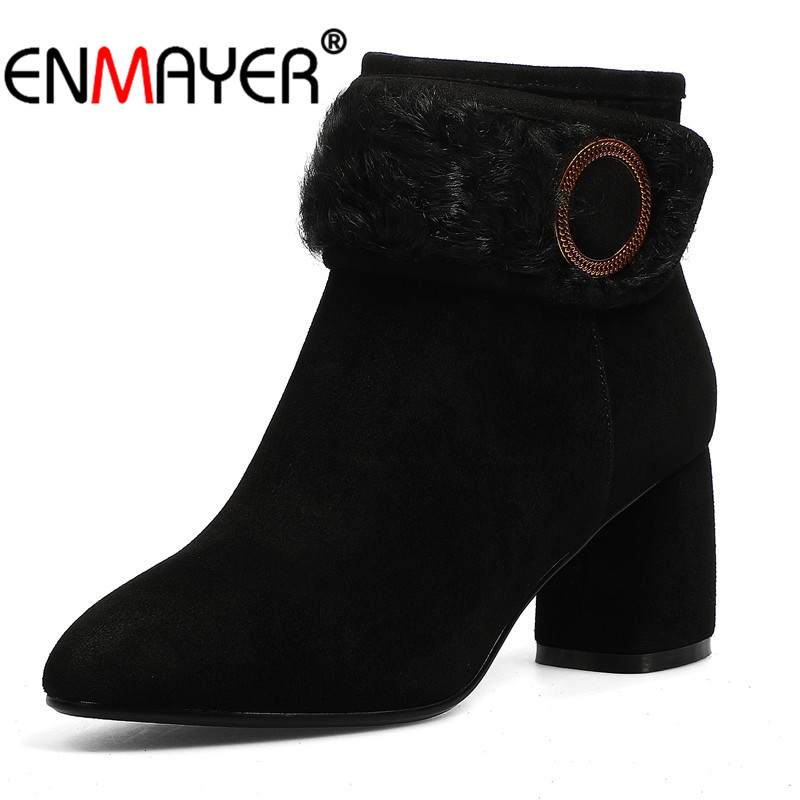 ENMAYER Women Ankle Boots Size 34-39 Causal High Heels Thick Heels Fashion Boots Square Toe Shoes woman Zip Buckle strap CR1130 women fashion boots round toe super high thick heels knee high buckle decoration ankle strap women snakeskin designer boots