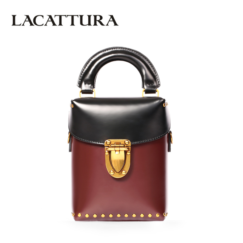 LACATTURA Luxury Bucket Handbag Small Women Leather Shoulder Bag Crossbody for Lady Fashion Totes Messenger Bags Lovely Clutch lacattura small bag women messenger bags split leather handbag lady tassels chain shoulder bag crossbody for girls summer colors