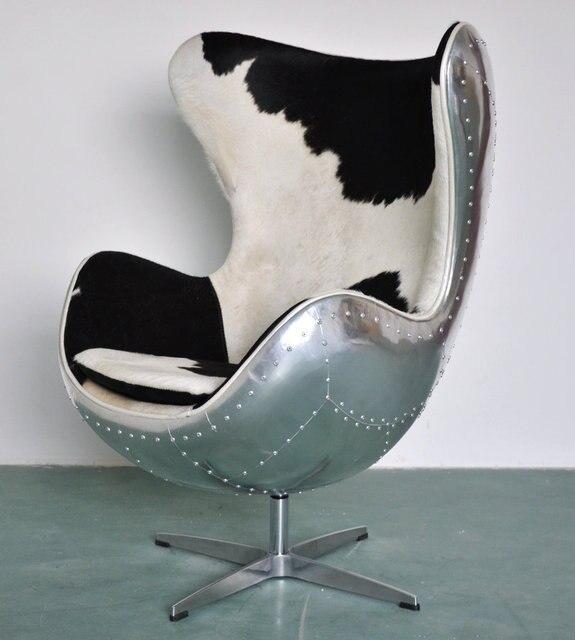 Natural Cow Leather Fur Aluminum Rivet Skin Eggshell Chair Retro Beanbag Chairs Computer