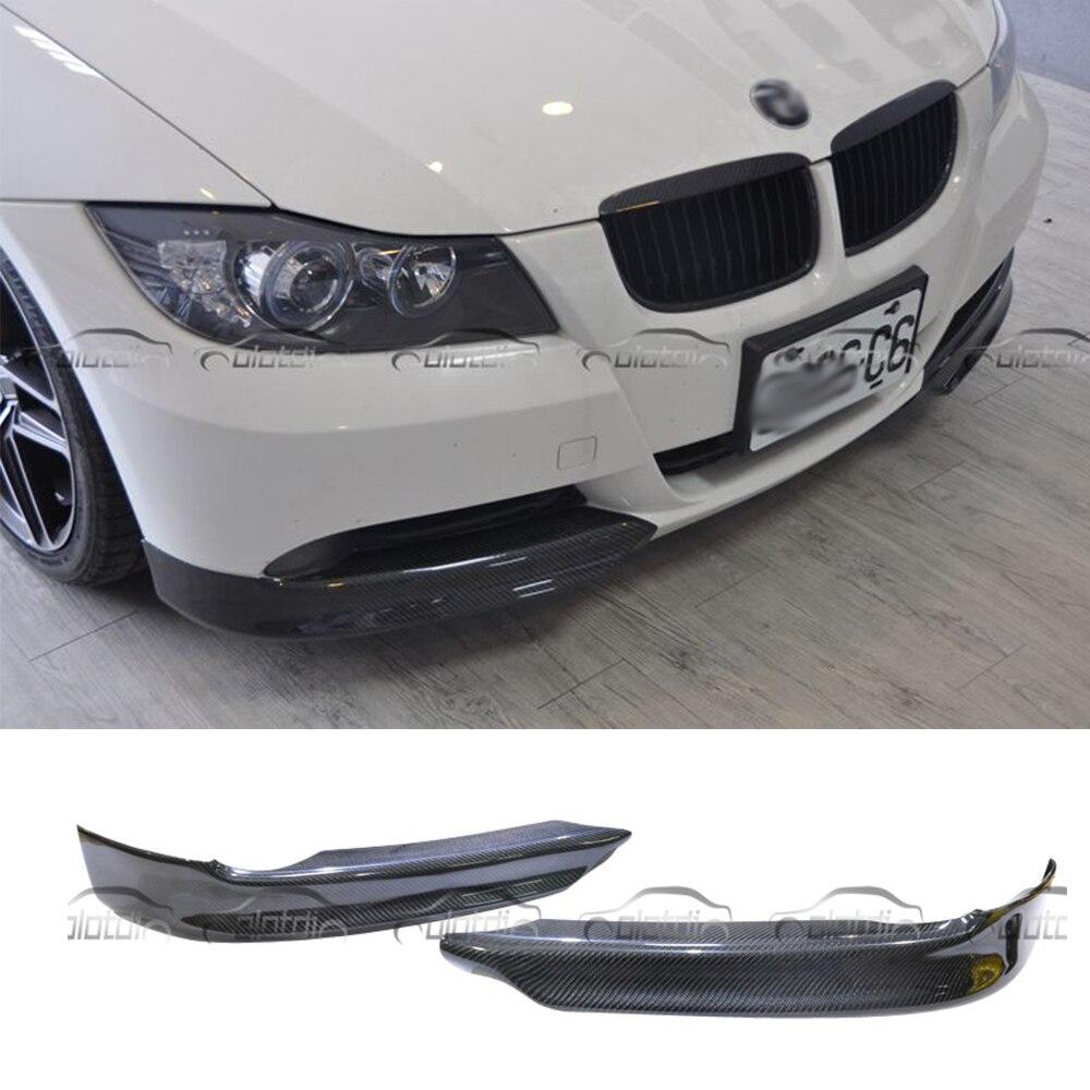 Pour la Performance P Style Style De Voiture En Fiber De Carbone Coin Splitter Avant Pièces Pour BMW E90 2005-2008 Lèvre avant protecteur de pare-chocs