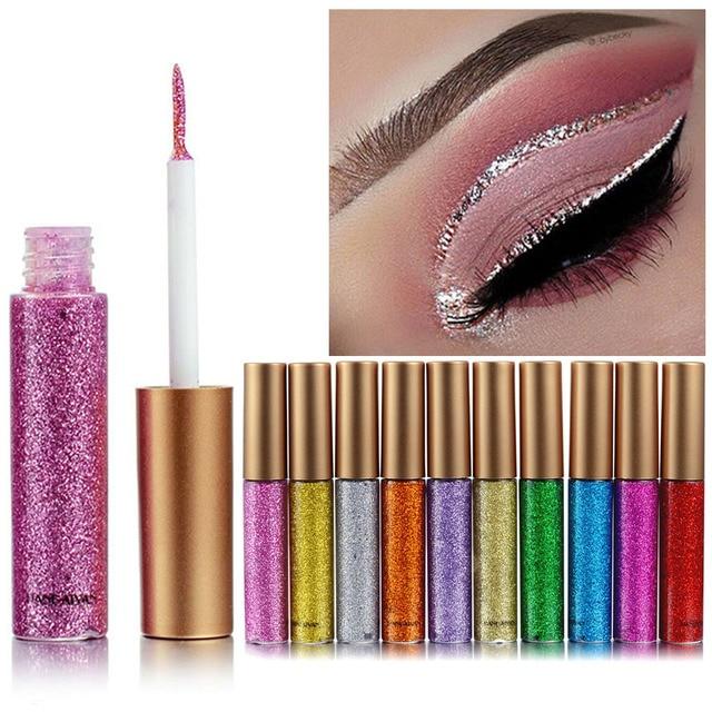 10 Colors/set Glitter Eyeliner Colorful Mermaid Shimmer Eye Liner Set Profissional Complete Makeup Long-lasting Beauty