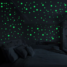 Wall sticker Baby Boy Room 3D Stars Glow In The Dark Luminous Fluorescent Wall Stickers For Children Bedroom Wall Decal Stickers(China)