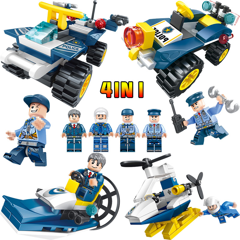 4 In1 Police Series Helicopter Police boat Compatible LegoINGLY City Mini Action Figures Blocks Bricks Educational Toys For Kids
