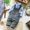 Envío gratis 2015 nueva primavera otoño niños del bebé de los pantalones del babero ropa de bebé mono niño ocasional