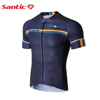 Santic Men Cycling Short Jersey Pro Fit Italy fabric Antislip Sleeve Cuff Road Bike MTB Short Sleeve Breathable Jerseys