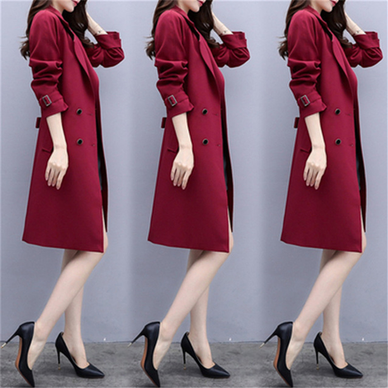 Fashion Spring Autumn Long Ladies   Trench   Coat 2019 New High Quality Double-breasted Womens Windbreaker Plus Size Slim Women Coat