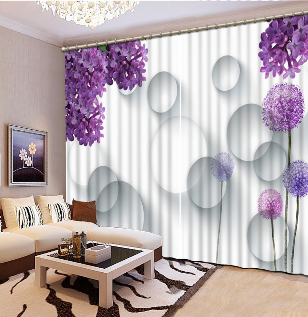 3d curtain Purple flower 3D Window Curtains For Bedding room ...
