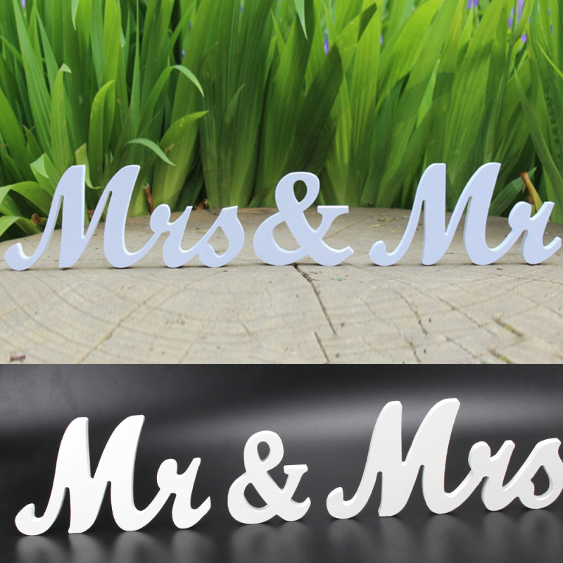 1 Set Romantische Vintage Wit Houten Vrijstaande Mr & Mrs Wedding Brief Mariage Wedding Party Top Tafel Present Decor Foto Prop