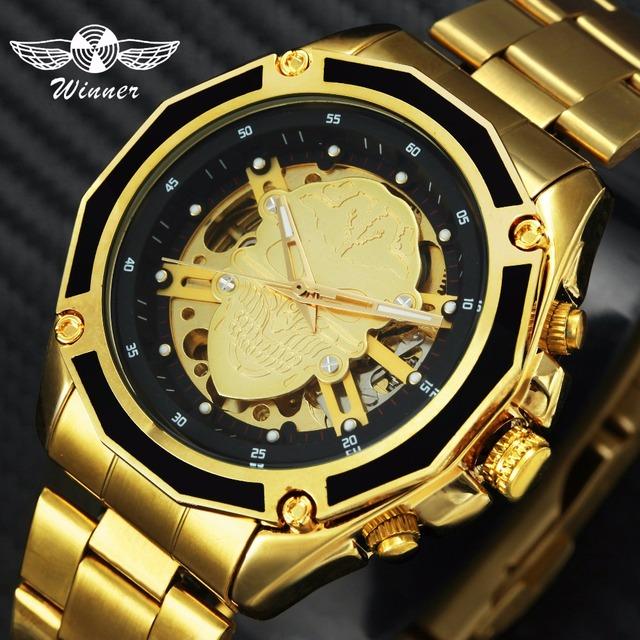 WINNER Mens Watches Top Brand Luxury Auto Mechanical Skeleton Dial Skull Watch Men Stainless Steel Strap Fashion relogio