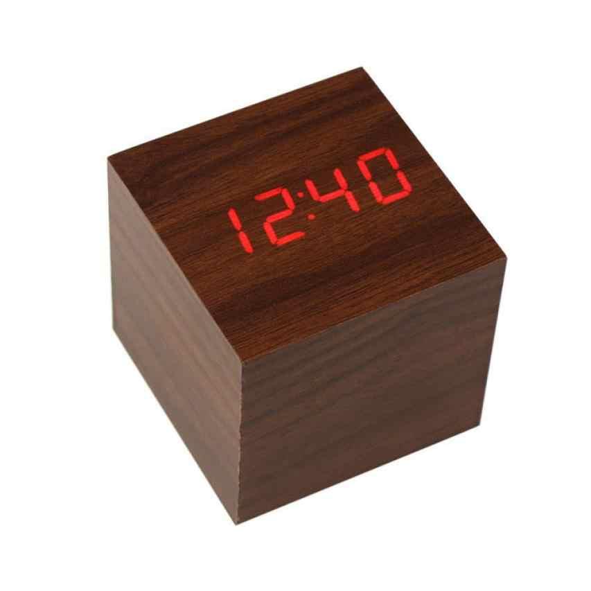 Di modo Mini Cubo di Stile Digitale LED Rosso Di Legno Scrivania In Legno di Allarme Marrone Orologio di Controllo Vocale m20 30 +