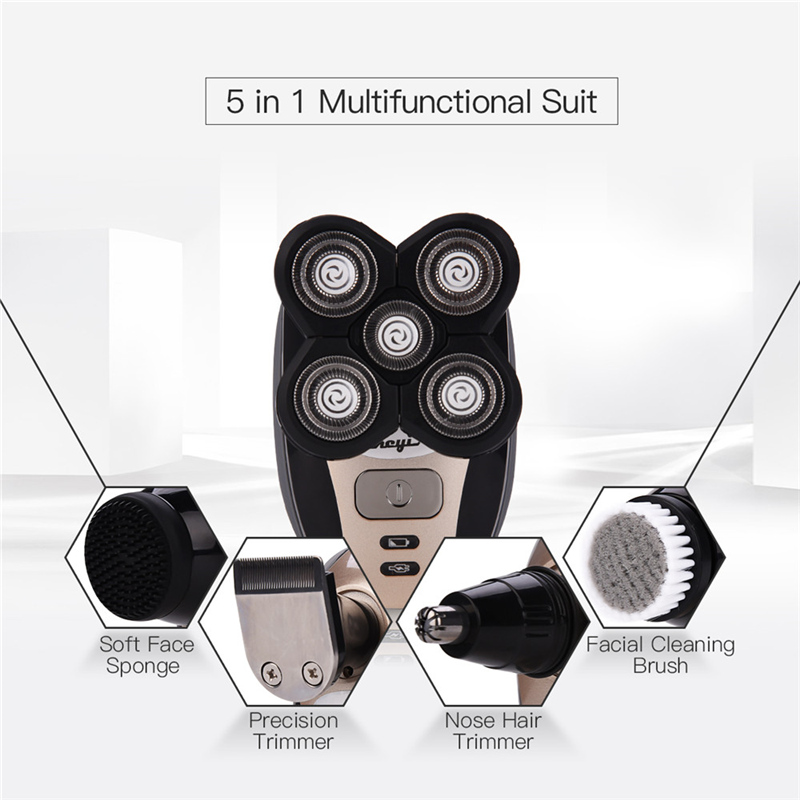 5in1 Men's Grooming Set Electric Shaver Hair Trimmer Rechargeable Bald Head Shaving Machine Hair Clipper Face Brush Rotate P54