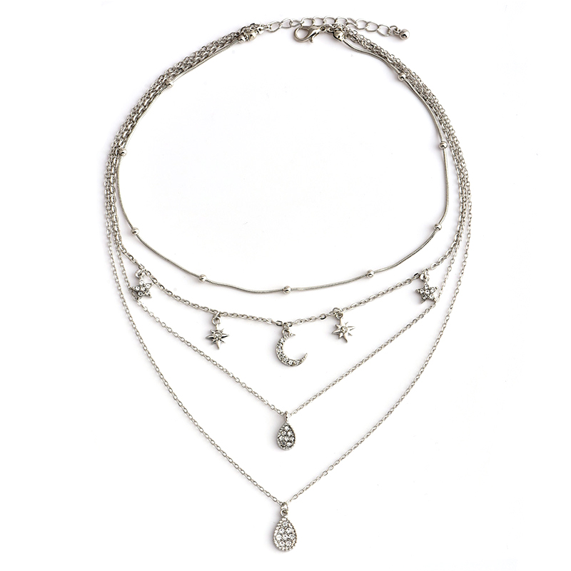 4Pcs/Set Women Fashion Water Drops Star Moon Gem Pendant Chain Silver Color Multilayer Clavicle Necklace Classic Girl