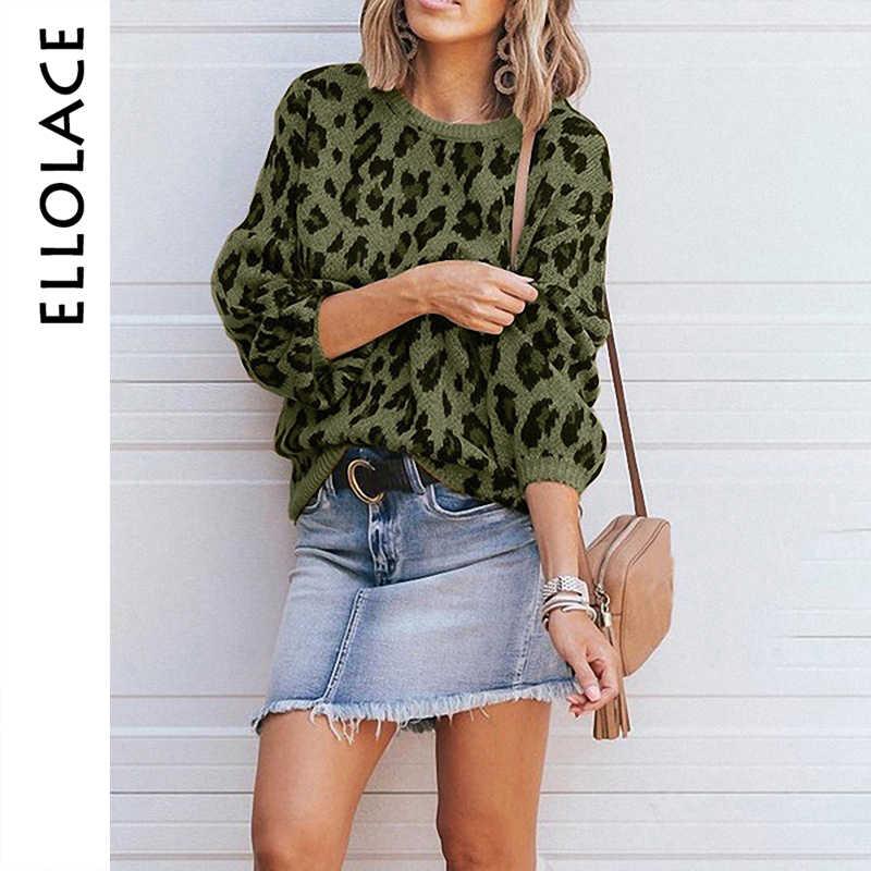 Ellolace модный свитер с леопардовой раскраской Женский пуловер с длинным рукавом Повседневный женский осенне-зимний Свободный вязаный женский джемпер оверсайз