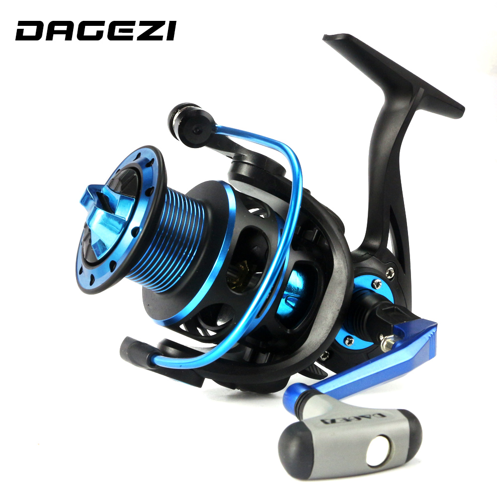 DAGEZI 3000 Series 9+1 Ball Bearings Sea Spinning Fishing Wheel 8KG Max Drag Power 5.2:1 Carp Fishing Reel blue/red color russian style spinning fishing reel red wheel max drag 6kg 5 2 1 gear ratio 9 1bb ball bearings fishing tackle free spoon
