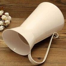 White New Vintage Tall Metal Shabby Chic Cream Vase Enamel Pitcher Jug Wedding Home Decor