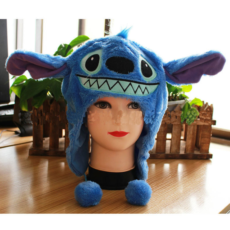 Stitch Plush Doll Toys Cap Animals Lilo Stitch Stuffed Doll Headdress Cute Stich Double Layer Warm Ear Protection Cosplay Hat