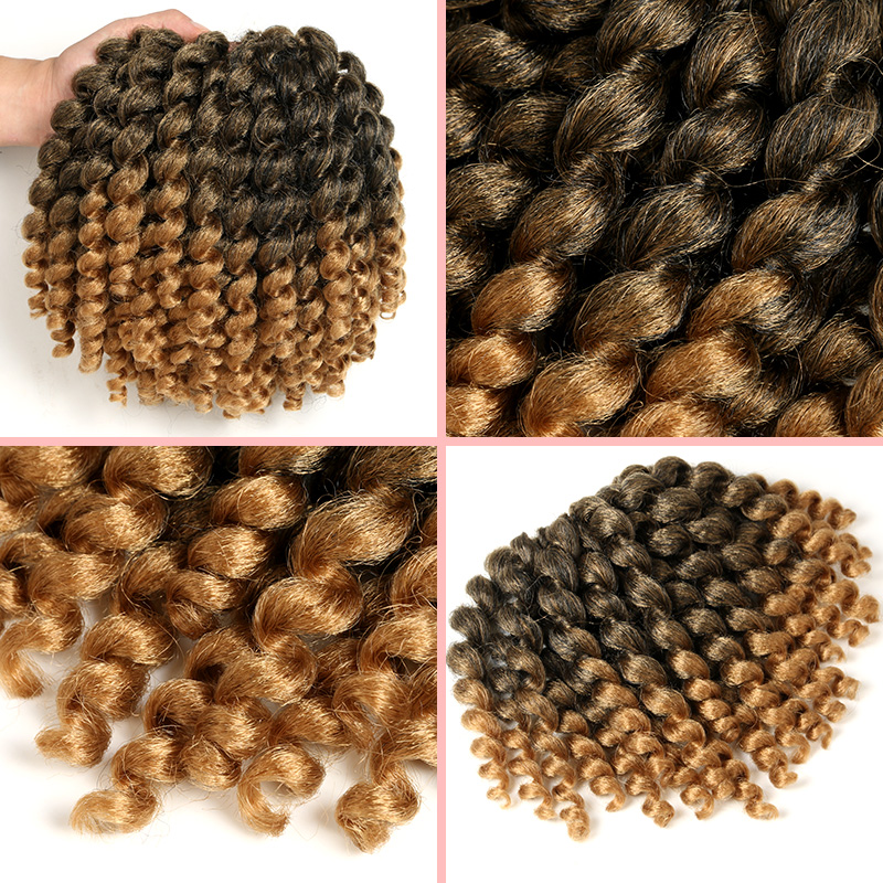 SAMBRAID Jamaican Bounce Crochet Braids Crochet Hair Extensions Wand Curl Ombre Synthetic Braiding Hair For Women