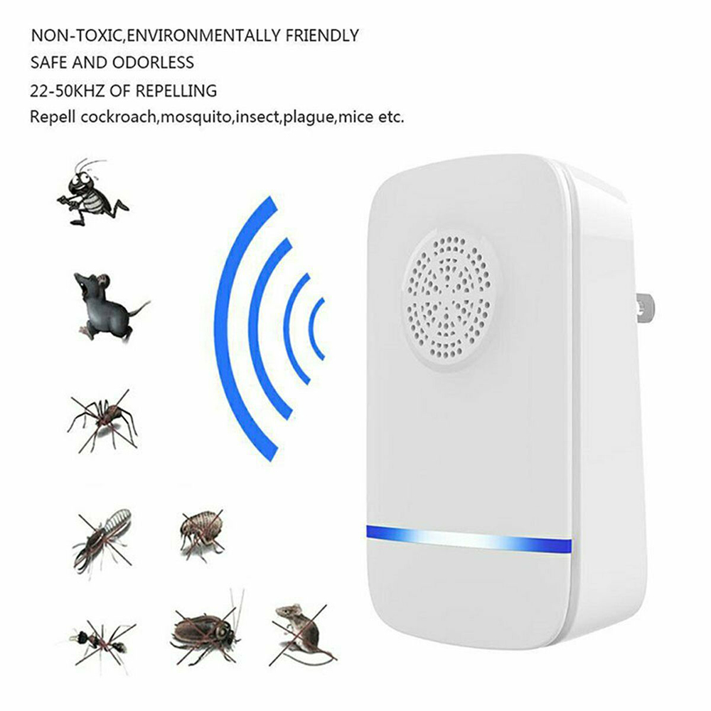 Ultrasonic Mice Rat Drive Away Pest Reject Mosquito Killer Spiders Roaches Ants Flies Fleas Bugs Repellent Repeller With Plug