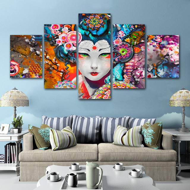 5 Panel Wall Art Japanese Flower Picture For Living Room Canvas Painting Anime Girl Posters And Print Home Decor