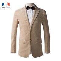LANGMENG Autumn Winter Fashion Men Blazer Casual Suits Slim Fit Corduroy Suit Jacket Men Costume Blazer