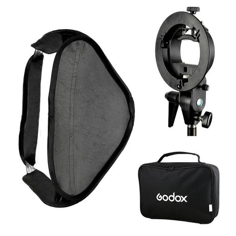 GODOX Ajustable Flash Softbox 80cm * 80cm + S type Bracket Mount Kit for Flash Speedlite Studio Shooting godox softbox ajustable flash 31 31inch 80cm 80cm s type bracket honeycomb grid mount kit for flash speedlite