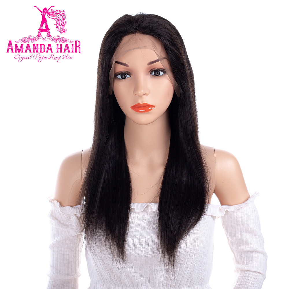 Amanda 360 Lace Frontal Wigs Straight Hair 150% Demsity Brazilian Remy Hair Lace Front Human Hair Wigs with Baby Hair for Women