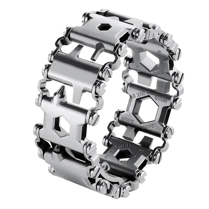 Bracelet en acier inoxydable pour hommes en plein air épissé multifonctionnel portant un tournevis outil main chaîne Bracelet de survie sur le terrain