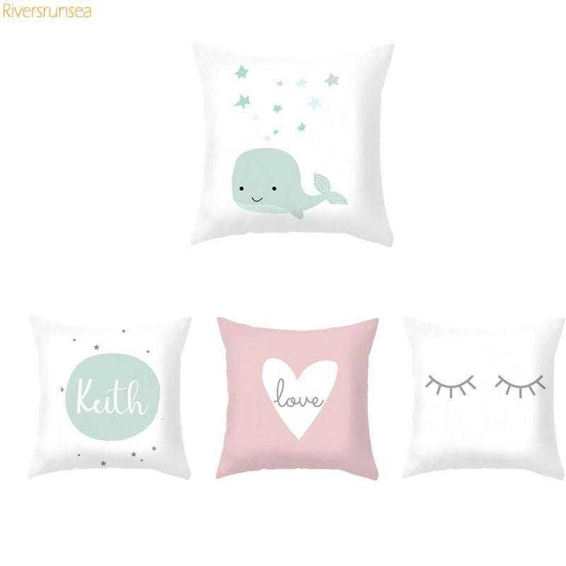 Custom Baby Cartoon Cushion Whale Print Nordic Kids Decoration Cute Rabbit Bear Eyelashes Love Decorative Pillows For Office Car