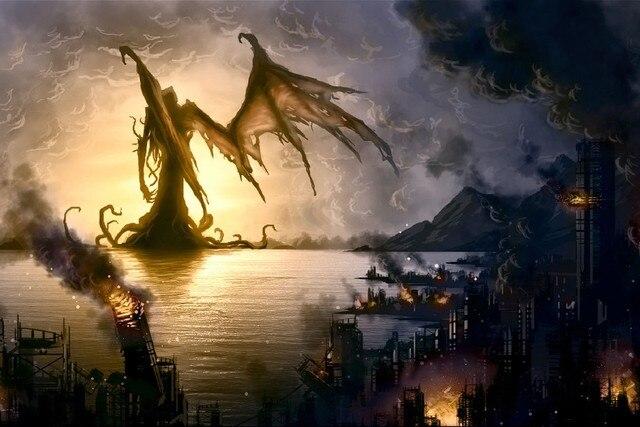 fantasy art monster apocalyptic destruction dark horror cloth silk