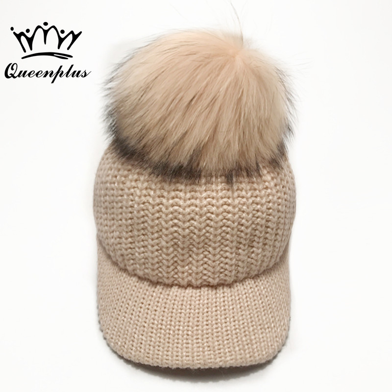 Oversized fox feather ball cap pom poms winter hat for women girl 's hat knitted  beanies cap brand new thick female cap cute ball top winter hat for women girl s hat casual gorros bonnet knitted cap beanies cap female thick cap brand new fashion