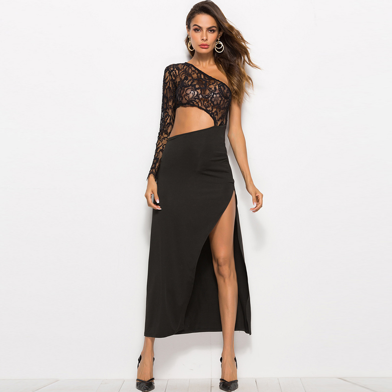 <font><b>2019</b></font> <font><b>Elegant</b></font> Off One Shoulder <font><b>Lace</b></font> Split <font><b>Sexy</b></font> <font><b>Women</b></font> <font><b>Dress</b></font> <font><b>Fashion</b></font> Hollow Out Long Style Party Beach Boho Black Ladies Robe Femme image