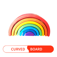 Baby Toys 7Pcs Semicircle Rainbow Blocks Wooden for Kids Matching with Large Building Storage Cabinets Gift