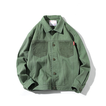 Casual Teens Denim Jacket Men Turn-down Collar Long Sleeve Denim Bomber Military Mens Coat