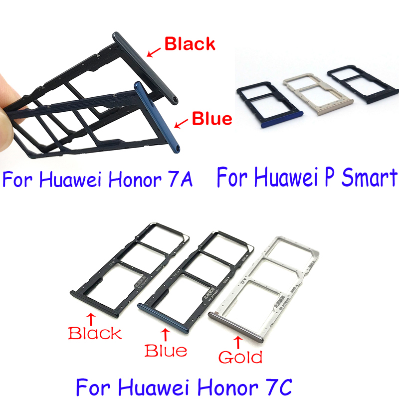 New SIM Card Tray Slot Holder Adapter Accessories For Huawei Honor 7A 7C P Smart Replacement Parts
