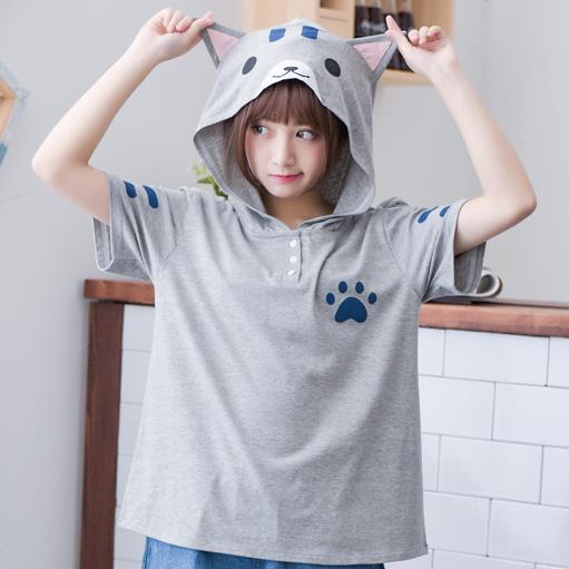2016 novo verão mulheres camisa bonito orelhas de gato menina estudante T-shirt impressão tops