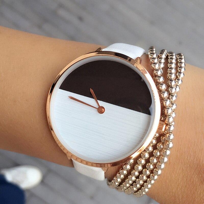 Nieuw Hot Design Twee kleuren Houten stijl Eenvoudige wijzerplaat Horloge Dames Elegante dunne band Mode Elke wedstrijd Casual Lady Polshorloge uur