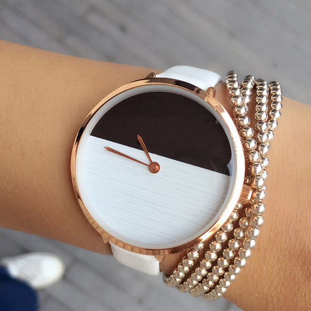New Hot Design Two Color Wooden Style Simple Dial Watch Women Elegant Thin Strap