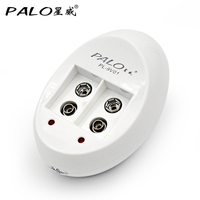 PALO Charger C818W Mini Dual Toy Battery Charger For 9V 6F22 Lithium Ni-MH Ni-CD Battery EU / US Plug Cargador Portatil
