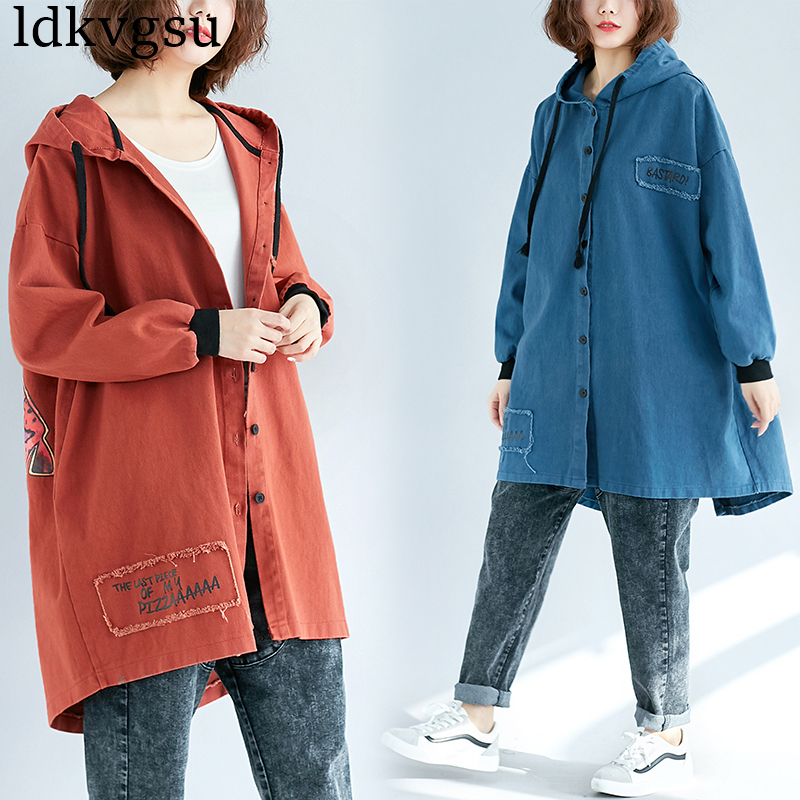 2019 New Large Size Spring Autumn Denim Windbreaker Women Outerwear Casual Oversize Printed Hooded Long   Trench   Coats A463