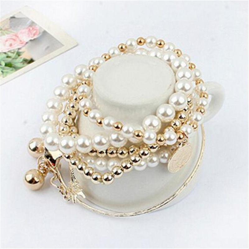 Eiffel Tower Fashion Jewelry Women Rhinestone Simulated Pearl Bangle Bracelet Set Mixed