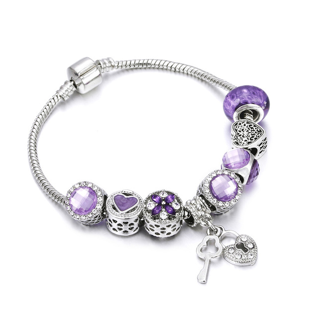 Bobosgirl Jewelry Women Charm Bracelet Purple Crystal Silver Key Heart Beads Ladies Chain Bangles Accessories DIY Pulseras mujer
